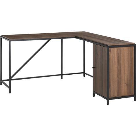 HOMCOM L-Shaped Computer Corner Desk w/ Cabinet Adjustable Shelf Home Office