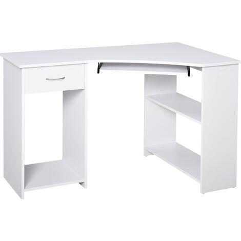 HOMCOM L-Shaped Corner Computer Desk Side Shelves Drawer Workstation White