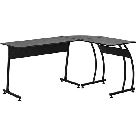 HOMCOM L Shaped Corner Desk Home Office Study Steel Frame Adjustable Feet Black