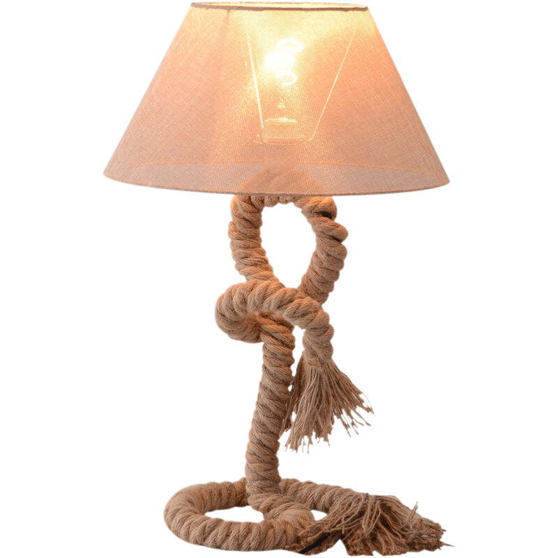 Lampada da Comodino Abat jour in Corda di Canapa Beige 40x40x65cm - Homcom