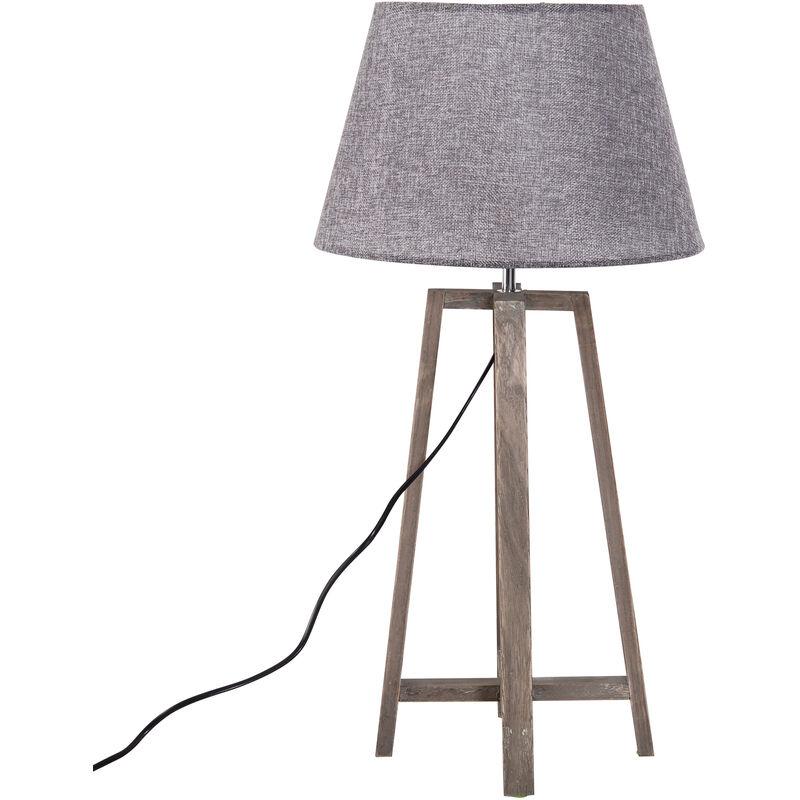 Homcom Lampada da Tavolo Paralume in Lino Base in Legno di Paulonia Altezza 68,5 cm Grigio
