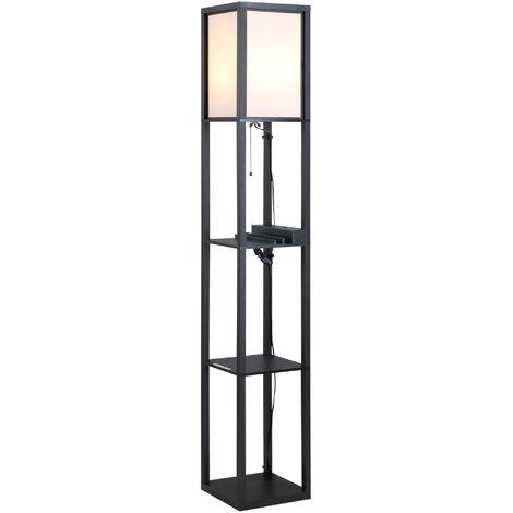"main image of ""Homcom Lampada da Terra Design con 3 Mensole e 2 Porte USB Paralume Bianco Lampadine E27 26 x 26 x 160cm"""