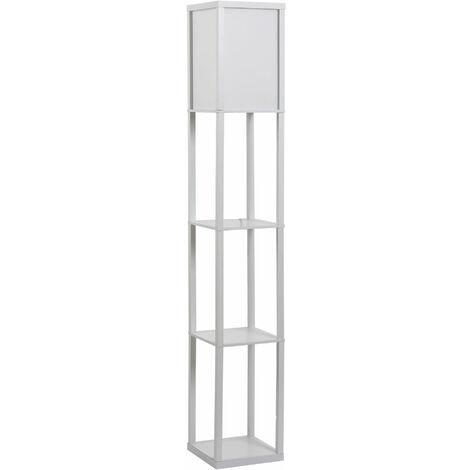 HOMCOM Lámpara de Pie con 3 Estantes para Salón Dormitorio Portalámpara E27 Blanco