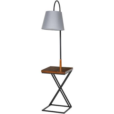 HOMCOM Lámpara de Pie con Mesita Cabeza Flexible Marco Metálico Moderno 36x36x165 cm - Negro, Marrón, Gris