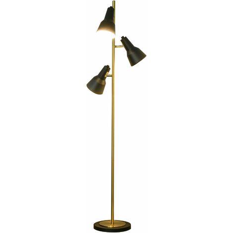 HOMCOM Lámpara de Pie de 3 Pantallas Ajustables con Interruptor de Pie Lampara de Pie