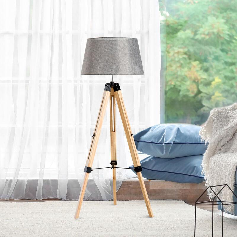 Lámpara Ajustable con de Iluminación Trípode Pie Lino Altura Madera Tela y 40W E27 Pantalla de HOMCOM Moderna nO0vN8wym