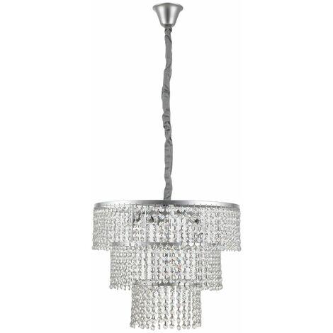HOMCOM Lámpara de Techo Cristal Altura Ajustable Colgante con 6 Portalámparas Ф54x120