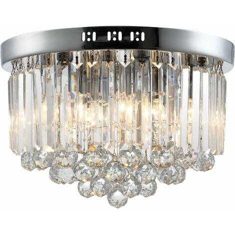 HOMCOM Lámpara de Techo de Cristal K9 para Dormitorio Portalámparas E14 Ф45x30 cm Plata - Plata