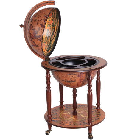 HOMCOM Large Globe Drink Cabinet Bar Mobile Wine Bottle Stand Trolley W/ 4 Wheels