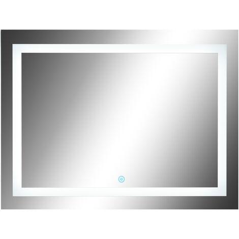 Homcom Led Badspiegel Wandspiegel Glas Aluminium 60 X 80 X 4cm
