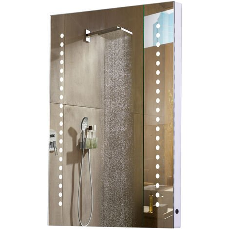 Homcom LED Bathroom Sensor Mirror Demister Dustproof Illuminated 50L x 70H x 3.5W (cm)