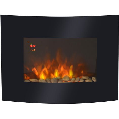 Homcom Led Curved Glass Electric Wall Mounted Fireplace 7 Colour Ligths Slimline Plasma Fan Heater