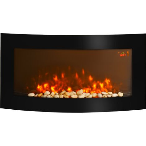 Homcom LED Curved Glass Electric Wall Mounted Fireplace 7 Colours Fan Heater
