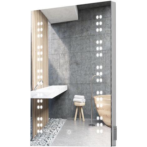 HOMCOM LED Illuminated Bathroom Sensor Mirror Demist Shaver Socket 70H × 50L × 6.5W (cm)