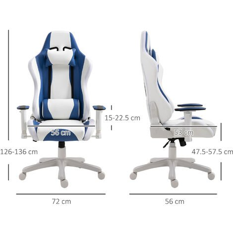 """main image of """"HOMCOM LED Light PU Leather Gaming Chair Thick Padding w/ Removable Pillows"""""""
