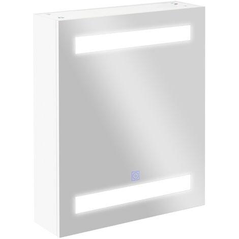 HOMCOM® LED Spiegelschrank   Glas, MDF   15W   15 x 50 x 60 cm   Silber