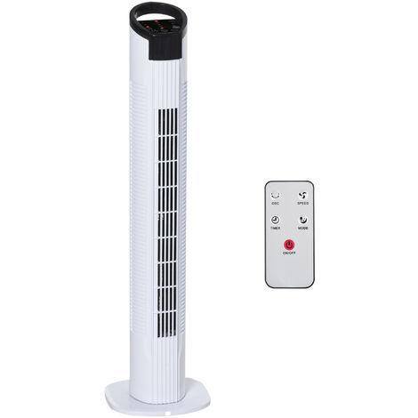 HOMCOM LED Tower Fan 70° Oscillation 3 Speed 3 Mode Remote Controller