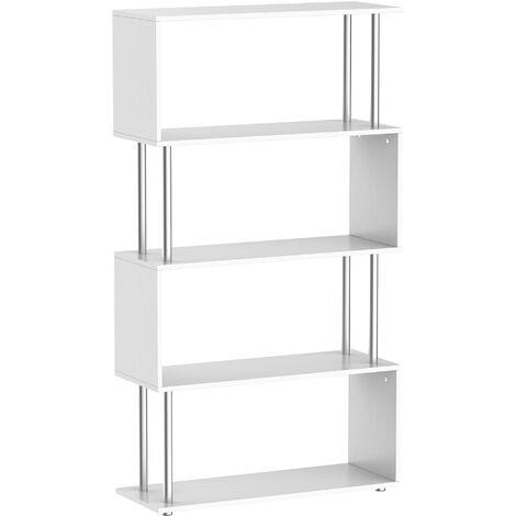 HOMCOM Libreria 145x80x30 cm Madera y Metal Muebles Oficina Estanteria Estante Blanco