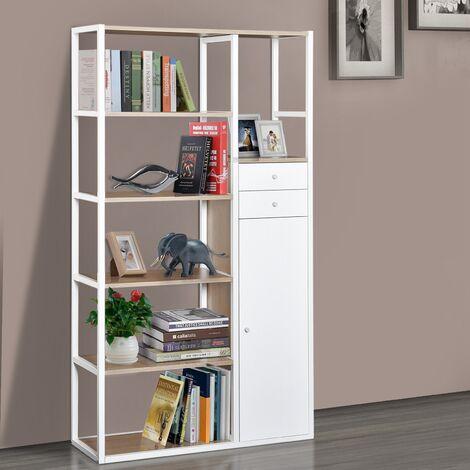 Homcom Libreria 6 Ripiani con 2 Cassetti e Armadietto in Acciaio e ...