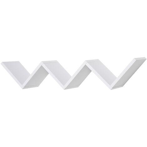HOMCOM Libreria a Muro Sospesa di Design in Legno Bianco a Forma di V