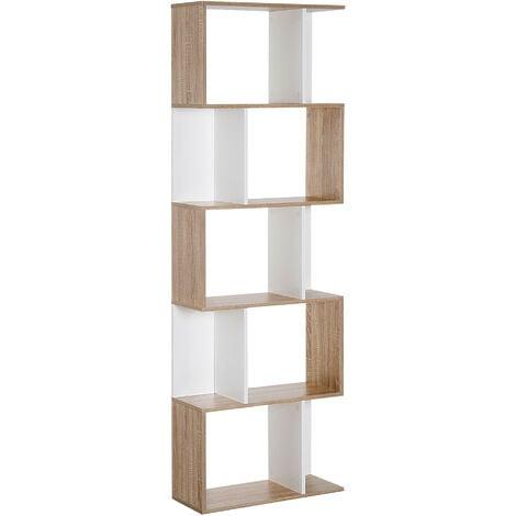 "main image of ""Homcom Libreria da Muro Moderna 5 Ripiani in Legno Bianco, 60x24x184.5cm"""