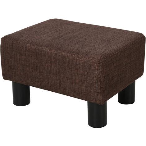 HOMCOM Linen Fabric Footstool Ottoman Cube Padded Foam Pouffe Home Dark Brown
