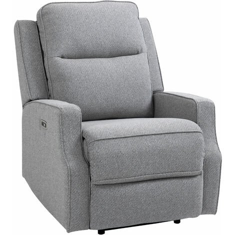 HOMCOM Linen-Look Electric Recliner Armchair Padded Seat Home w/ Footrest, Grey