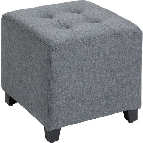 "main image of ""HOMCOM Linen-Look Square Vintage Padded Ottoman Footstool Footrest Grey"""