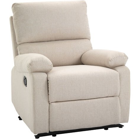 HOMCOM Linen Manual Reclining Armchair Sofa Lounge Seat Living Room Bedroom