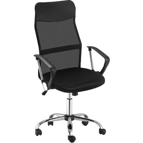 HOMCOM Linen & Mesh Mix Swivel Office Chair Ergonomic Home Seat w/ Wheels Grey