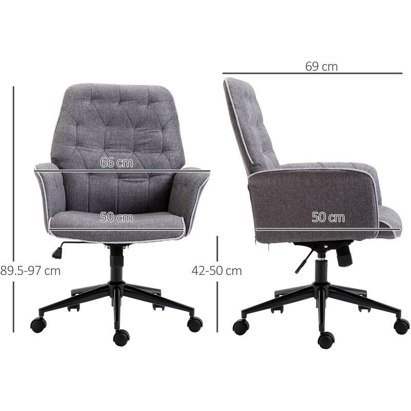 Awe Inspiring Homcom Linen Office Swivel Chair Mid Back Computer Seat Adjustable Desk Chair Grey Spiritservingveterans Wood Chair Design Ideas Spiritservingveteransorg