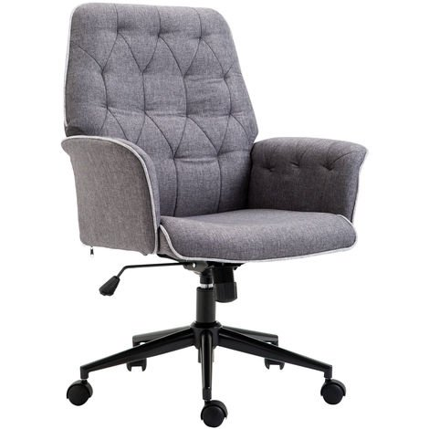 HOMCOM Linen Office Swivel Chair Mid Back Computer Seat Adjustable Desk Chair - Grey