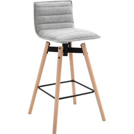 HOMCOM Linen Retro-Look Bar Stool Home Swivel Seat w/ Wood Frame Footrest