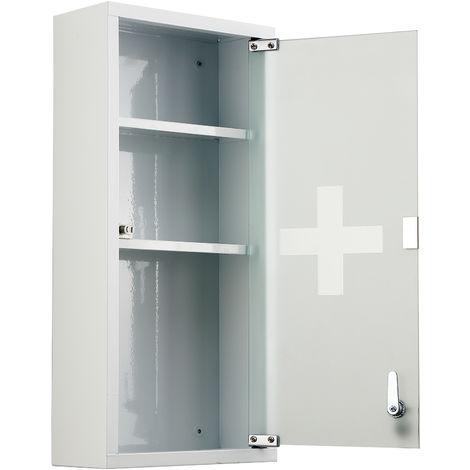 HOMCOM Locking Stainless Steel Medicine Cabinet Glass Door 3 Shelves w/ Keys