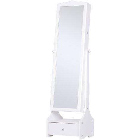 HOMCOM Longline Jewellery Mirror LED Armoire Freestanding w/ Lock Drawer White