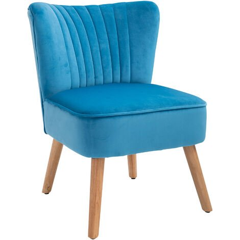 HOMCOM Luxe Velvet-Feel Accent Chair Tub Seat Padding Wood Frame Legs Home Blue