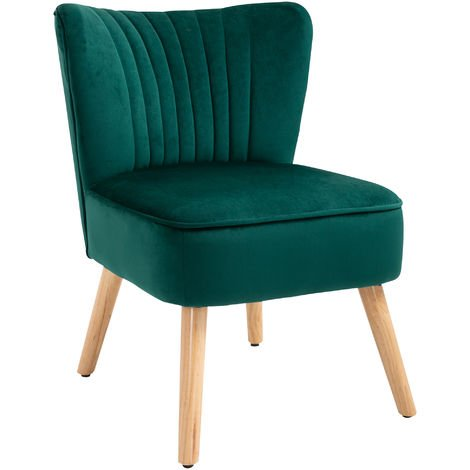 HOMCOM Luxe Velvet-Feel Accent Chair Tub Seat Padding Wood Frame Legs Home Green