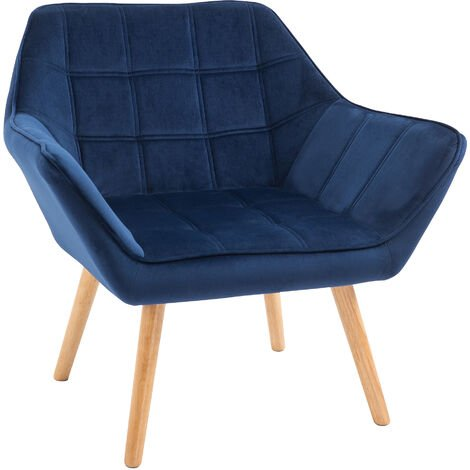 """main image of """"HOMCOM Luxe Velvet-Feel Accent Chair w/ Wide Arms Slanted Back Wood Legs Blue"""""""