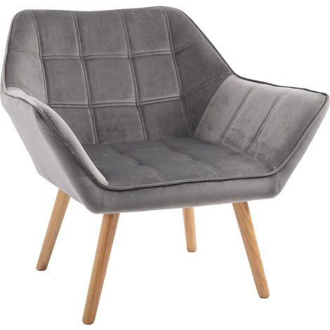 """main image of """"HOMCOM Luxe Velvet-Feel Accent Chair w/ Wide Arms Slanted Back Wood Legs Grey"""""""