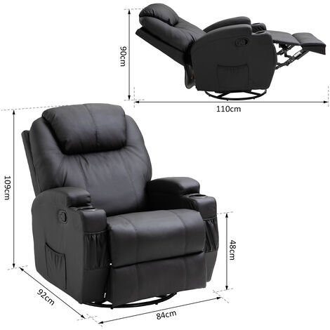 HOMCOM Luxury Leather Recliner Sofa Chair Armchair Cinema Massage Chair Rocking Swivel Heated Nursing Gaming Chair Black