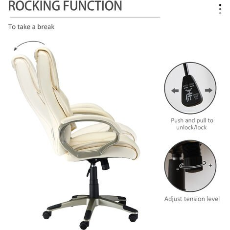 HOMCOM Luxury PU Leather Computer Office Desk Chair Luxury Swivel Executive