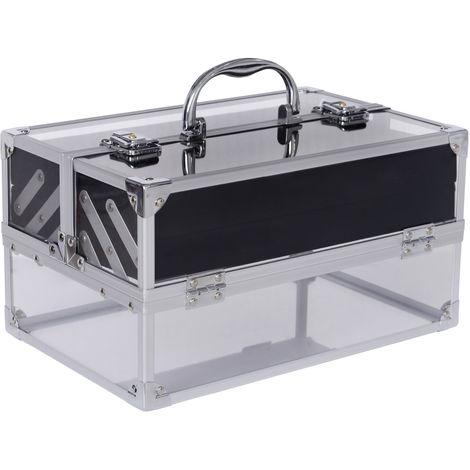 HOMCOM Makeup Cosmetic Storage Case Vanity Locking Box w/ Handle Silver
