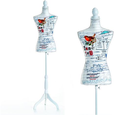 HOMCOM Maniquí Femenino de Costura Busto de Señora para Exposición Modista 130-168cm