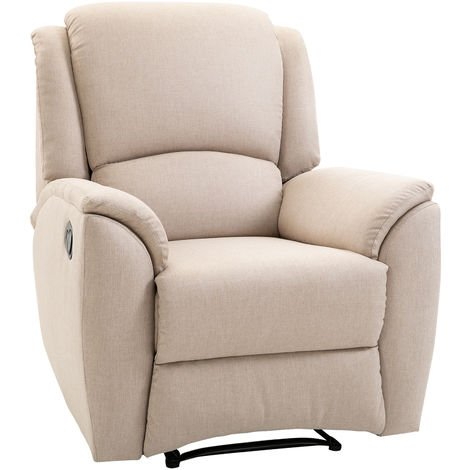 HOMCOM Manual Recliner Padded Armchair Lounge Seat w/ Wood Legs Footrest Beige