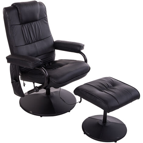 """main image of """"HOMCOM Manual Sofa Reclining Armchair PU Leather Massage Recliner Chair and Ottoman, Black"""""""