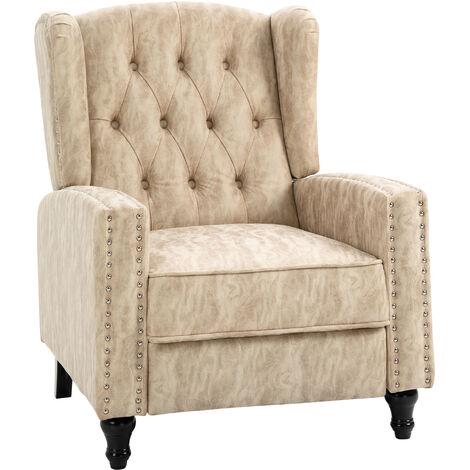 HOMCOM Marble Effect Manual Reclining Armchair w/ Footrest Studs Wood Legs Beige