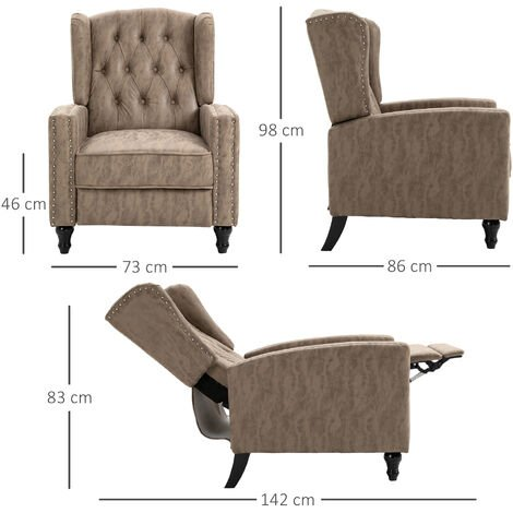 """main image of """"HOMCOM Marble Effect Manual Reclining Armchair w/ Footrest Studs Wood Legs Brown"""""""