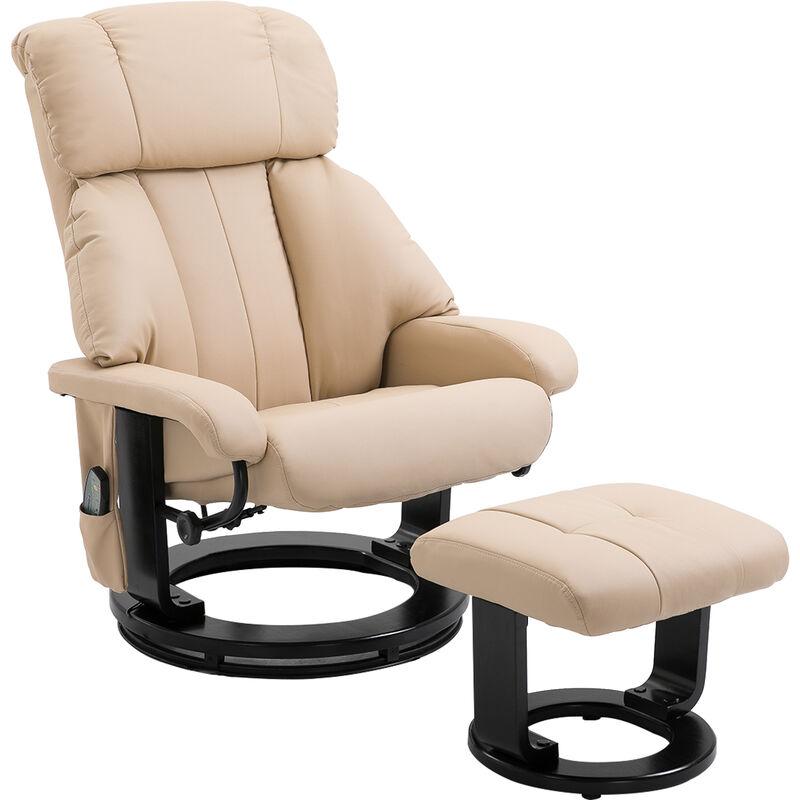 HOMCOM® Massagesessel Heizfunktion Hocker Veganleder, Schaumstoff, Holz, Metall 76 x 80 x 102 cm Creme - creme
