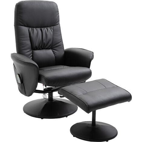 HOMCOM Massagesessel mit Fußhocker | Heizfunktion | 135° Neigung | 81 x 81 x 105 cm | Schwarz - schwarz