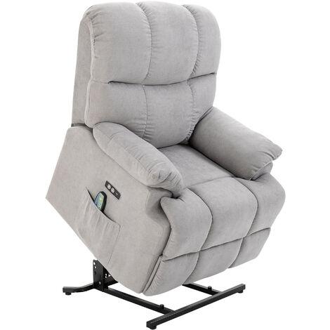 HOMCOM® Massagesessel mit Wärmefunktion Relaxsessel Fernbedienung USB Kurzplüsch Grau - grau